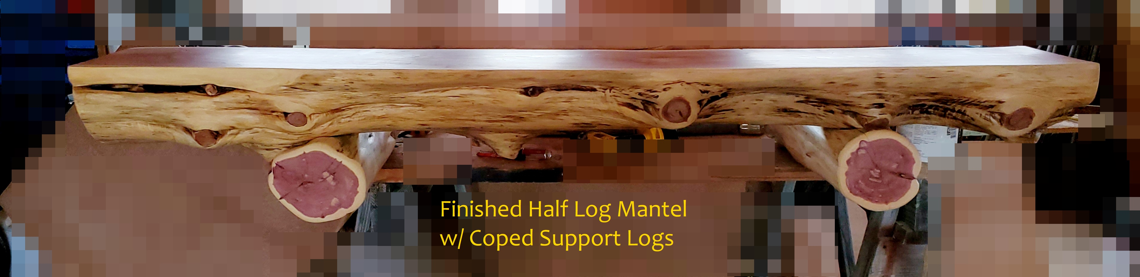 finished half log mantel with supports