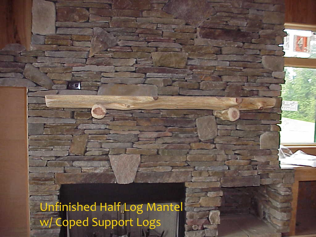 unfinished half log mantel with supports